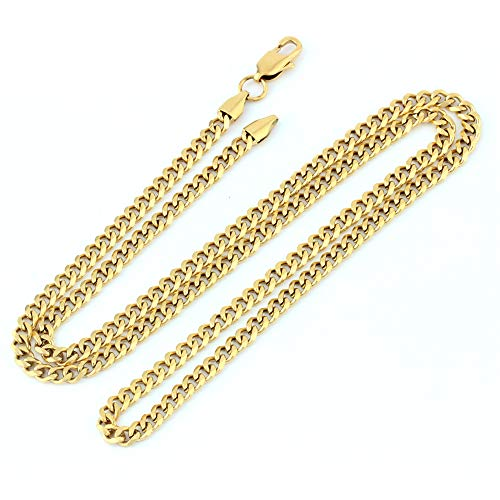 GOLD IDEA JEWELRY Luxurious Miami Cuban Link Chain Heavy 14k Gold Plated Stainless Steel Looks Like Solid Gold 18
