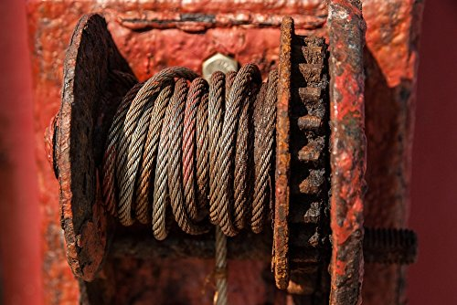 (Home Comforts Canvas Print Winch Rust Rope Cable Stretched Canvas 32 x 24)