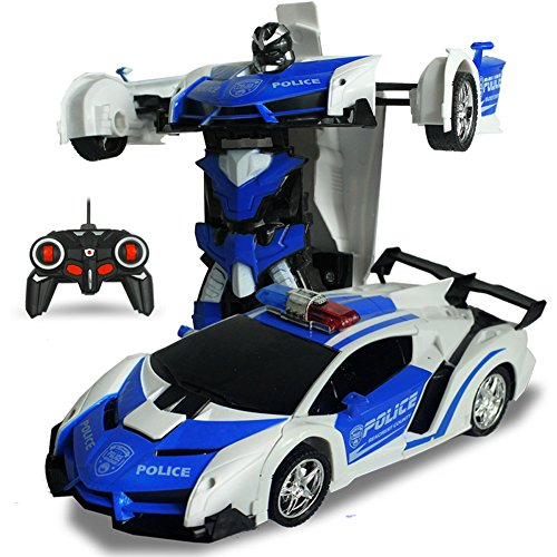 Aoile One-Key Deformation Robot Toy Transformation Electric Car Model with Remote Controller Police car/Battery Version -