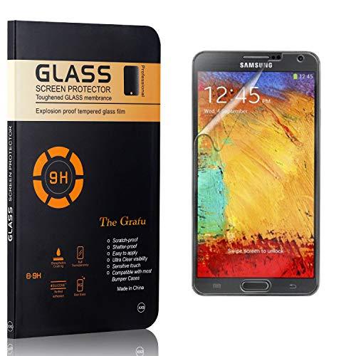 The Grafu Displayschutzfolie für Galaxy Note 3, Anti Fingerabdruck, 3D Touch, Ultra klar Hart Schutzfilm aus Gehärtetem Glas für Samsung Galaxy Note 3, 3 Stück