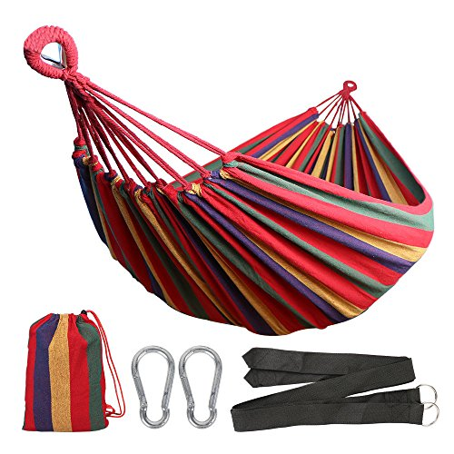 Anyoo Single Cotton Outdoor Hammock Multiples Load Capacity Up to 450 Lbs Portable With Carrying Bag for Patio Yard Garden by Anyoo