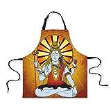 Personality Apron,Spiritual,Religious Figure on Grunge Backdrop Idol Meditation Boho Holy Print,Amber Orange Light Blue,Picture Printed Apron.29.5''x26.3''