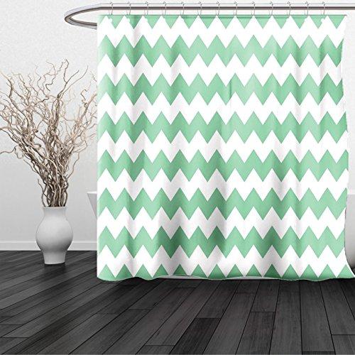 HAIXIA Shower Curtain Mint Chevron Pattern Horizontal Zigzag Twisty Turns Modern Aztec Folk Inspirations Queen Full White Jade Green