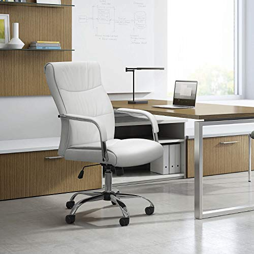 Furmax High Back Office Desk Chair Conference Leather Executive with Padded Armrests,Adjustable Ergonomic Swivel Task Chair with Lumbar Support(White) by Furmax (Image #5)