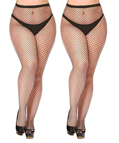 Womem's Sexy Black Fishnet Tights Plus Size Net Pantyhose Stockings (Black #4, Plus Size)