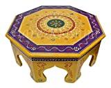 Hare Krishna HNC00464 Country Style Footstool Low Wooden Low Side Table 14 x 14 x 6 inches