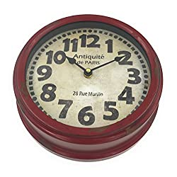 Metal Rim Wall Clock French Rustic Red / Brown Antique de Paris