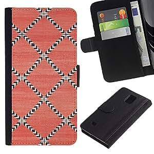 Billetera de Cuero Caso Titular de la tarjeta Carcasa Funda para Samsung Galaxy Note 4 SM-N910 / Pattern Wallpaper Pink Art / STRONG