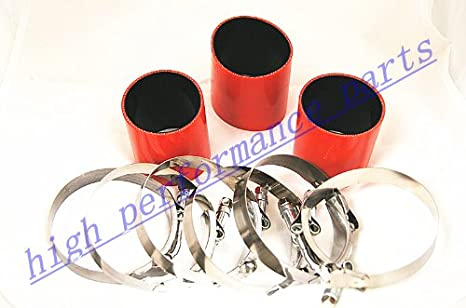 """RED 3.5/""""-3.5/"""" AIR INTAKE//PIPING RUBBER COUPLER FOR DODGE//JEEP"""