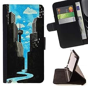 Momo Phone Case / Flip Funda de Cuero Case Cover - Arte Río de ciencia ficción Ciudad Deco Libertad - Huawei Ascend P8 (Not for P8 Lite)