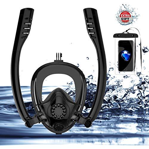 HJKB SOURCER K2 Scuba Diving Mask, Full Face Snorkeling Mask with Free Breathing System, 180° Panoramic View Diving Scuba Mask Dry Top Snorkel with Detachable Camera Mount (Black, ()