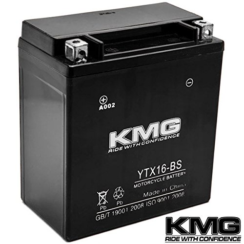 KMG YTX16-BS Battery For Kawasaki 1600 VN1600 Vulcan Mean Streak 2004-2009 Sealed Maintenace Free 12V Battery High Performance SMF OEM Replacement Powersport Motorcycle ATV Snowmobile Watercraft