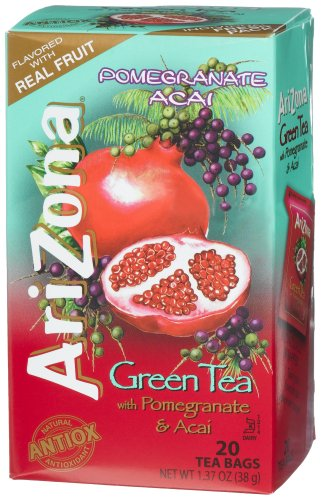 AriZona Green Tea with Pomegranate and Acai, 20 Count Tea Bags, 1.37 Ounce Boxes (Pack of 6)