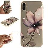 iPhone X Case (5.8-inch), iPhoneX Cover [Bling Decoration] [Clear Transparent], MerKuyom Flexible Gel Soft TPU Skin Case W/ Stylus For Apple iPhone X (2017) (Rhinetones - Elegant Flower)