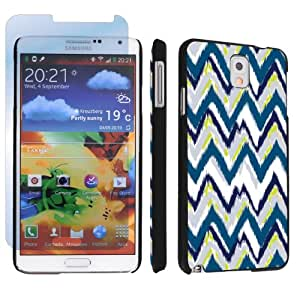 Samsung Galaxy Note 3 III Black Designer Hard Case + Screen Protector By SkinGuardz - Navy Tribal