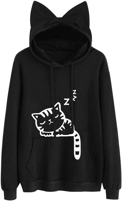 Women Hoodie Sweatshirt Cotton Cat Ear Long Sleeve Cute Pocket Autumn Winter Pullover Blouse Fashion Tops