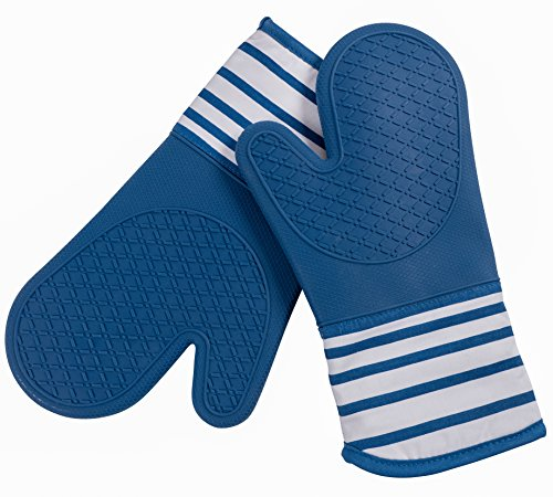 """KAF Home Pantry Professional Silicone Oven Mitt (Blue, Set of 2, 13"""" Oven Mitts) w/Fleece Quilted Lining and Printed Cuff - Heat Resistant Up To 500F - Ombre"""