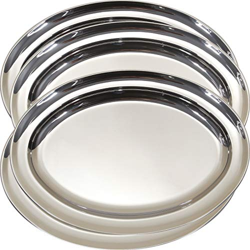 (Maro Megastore (Pack of 4) 12.2-Inch x 8.7-Inch Oval Serving Tray Chrome Plated Mirrored Reflection Design Decorative Holiday Wedding Birthday Buffet Party Dessert Food Art Decor Party Wine Ts-071)