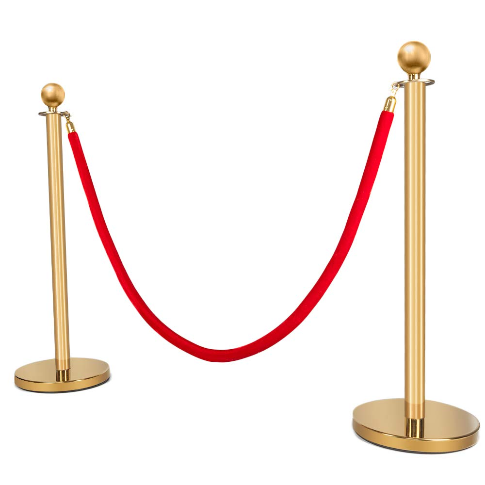 Mefeir 2PCS Queue Pole Barrier Crowd Control Barrier Security Fence Stainless Steel Ball Top Retractable Belt Stanchion Posts/Red Velvet Rope VIP Gold