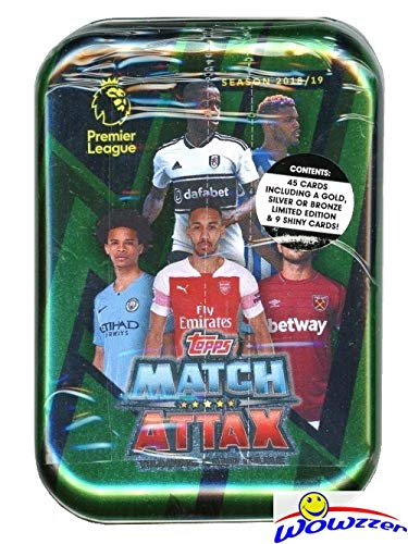 2018/19 Topps Match Attax English Premier League Soccer Awesome Collectors TIN with 45 Cards Including EXCLUSIVE LIMITED EDITION Card! Look for Cards of all the Top Stars of Premier League! WOWZZER!