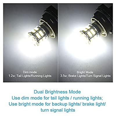 YITAMOTOR 4x 1157 LED Bulbs, 54SMD 650 Lumens, BAY15D 7528 2357 2057 LED Replacement Light Bulb for Brake Tail Running Parking Backup Light for Car Vehicle RV Trailer Boat, 12v-24v: Automotive