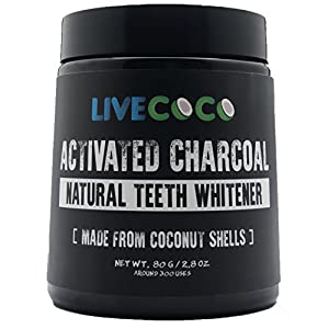 *FLASH SALE* Activated Charcoal for Teeth Whitening, Natural Teeth Whitening using Coconut Shells, RAW & Food Grade with No Artificial Flavours, 100% Natural, Large Tub, 80g=300 Uses from LiveCoco