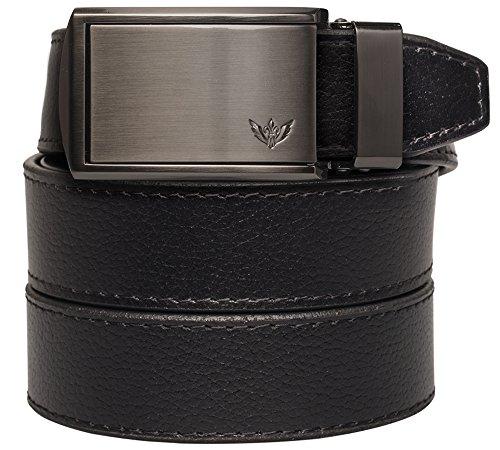 SlideBelts - Winged Gunmetal (Animal-Friendly Black Leather with Winged Gunmetal Buckle) - Gunmetal Metal