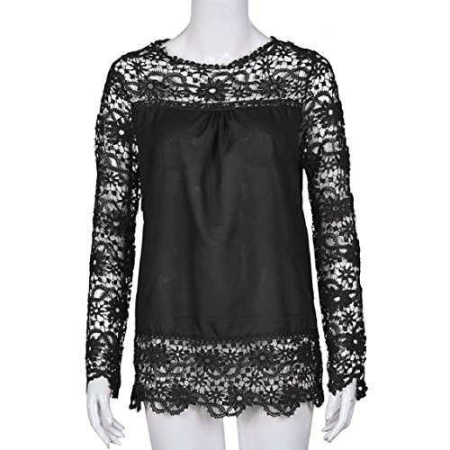 Couleurs Femme Blouse Tops ® Transer Femmes Manches Longues Dentelle 9 shirt Ample Chemisier s Casual Shirt mode xxxxxl Noir Coton T qzqwxTE