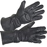 Xelement XG852 Men's Black Insulated Leather Deerskin Gauntlet Motorcycle Gloves - Black / Large