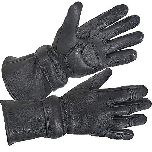 (Xelement XG852 Men's Black Insulated Leather Deerskin Gauntlet Motorcycle Gloves - Large)