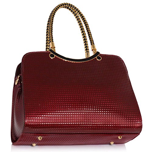 Xardi London nuova Medium donna borsetta in ecopelle vernice ufficio donne borsa a tracolla Burgundy Patent