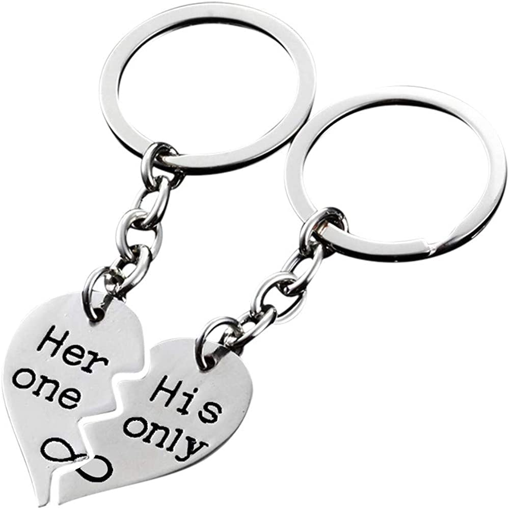 Romantic Couple Matching Keychain Keyring Keyfob Valentines Day Lover Gift Heart Key Set Bag Pendent