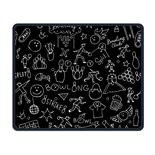 Portable Gaming Mouse Pad Bowling Game Comfortable Non-Slip Base Durable Stitched Edges for Laptop Computer & PC 7.08 X 8.66 Inch, 3mm Thick ()