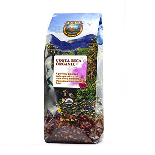 Java Planet - Costa Rican USDA Organic Coffee Beans, Dark Roast, Arabica Gourmet Coffee Grade A, packaged in 1 LB bag