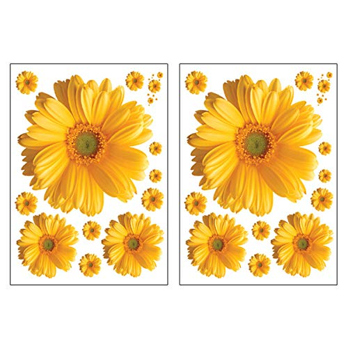 VIIRY 2Sets Sunflower Wall Decals 3D Yellow Red Pink Daisy Flowers Wall Stickers Peel and Stick Removable Wall Art Home Decor for Kids Room Living Room Bedroom Nursery Stickers Decoration(Yellow) (Wall Stickers Sunflower)