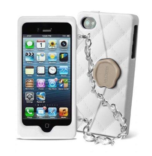 SBS Coque Les Cheries Petit sac à main avec chaîne pour iPhone 5/5S Blanc/Argent
