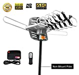 TV Antenna,Sobetter Amplified Outdoor 150 Mile Range Digital TV Antenna with UHF/VHF/FM - 360°Rotation - High Performance Outdoor Antenna for digital TV,33-Feet Coax cable(4K ready)