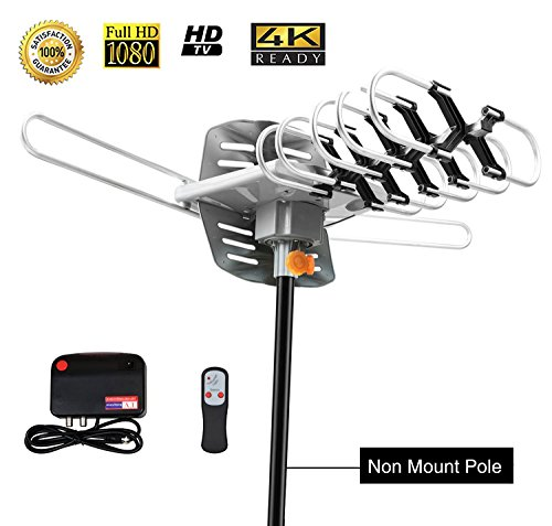 TV Antenna,Sobetter Amplified Outdoor 150 Mile Range Digital TV Antenna with UHF/VHF/FM - 360Rotation - High Performance Outdoor Antenna for digital TV,33-Feet Coax cable(4K ready)