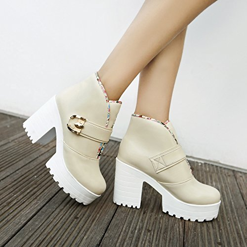Carolbar Womens Sweet Lolita Cosplay Platform Decorative Border Boots Beige