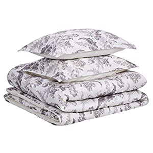 Amazon Basics 300TC 100% Cotton Comforter Set, Reversible 3-piece, Super Soft – King, Ivory Toile