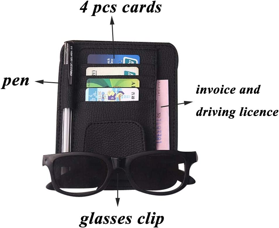 AOLVO CD Visor Organizer Clips,Car Sun Visor Organizer Card Storage Auto Accessories Document Holder Pen Holder with Sunglass Clip and Card Slots