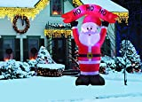 New 8 FT Inflatable Happy Flashing Santa Clause With 6pcs LED Lights Christmas X'mas Decoration