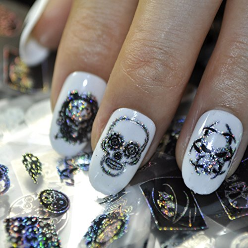 Punk Style Nail Art Foil Black Zombie Pirates Nail Design Decoration