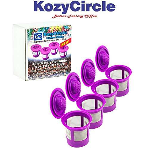 4-Pack Reusable Refillable Single K-Cup for Keurig 2.0 & 1.0 Coffee Machines – KozyCircle Coffee Replacement Mesh Filter Pods with Lids – Perfect Gift for Coffee Lovers