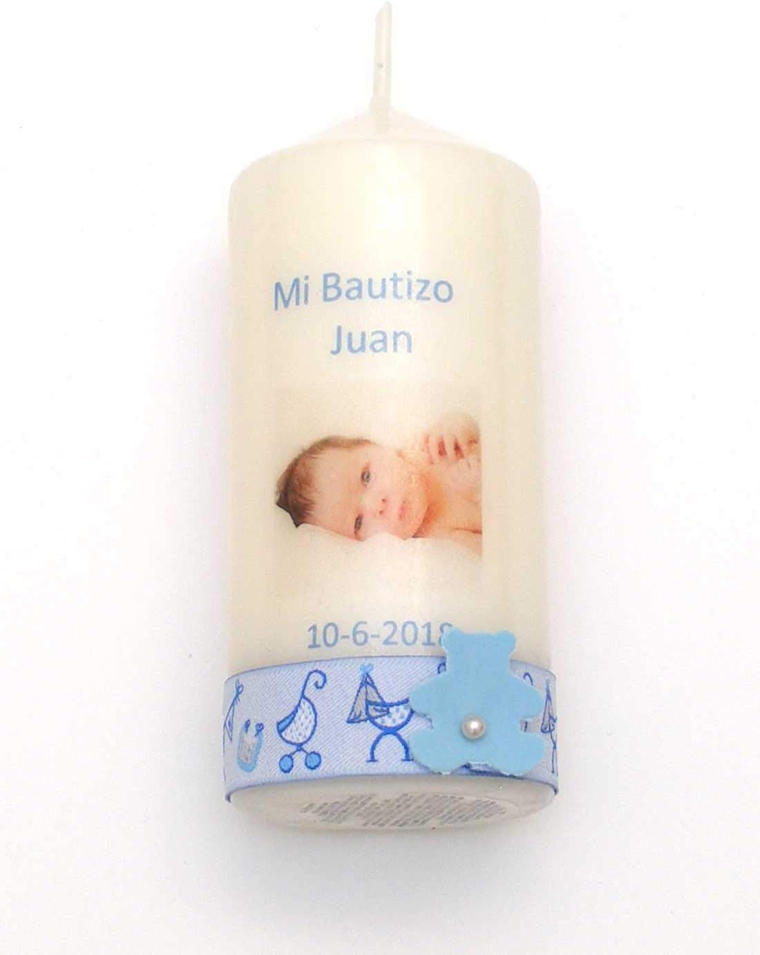 Vela Bautizo Regalo de Bautizo-Foto Cinta (Azul niño)-4x10cm
