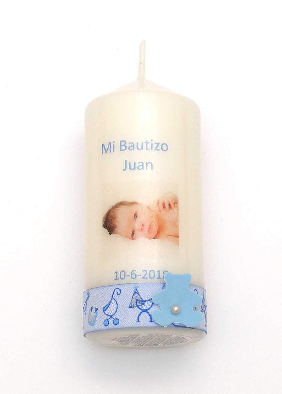 Vela Bautizo Regalo de Bautizo-Foto Cinta (Azul niño)-5x10cm Velas Pinçart