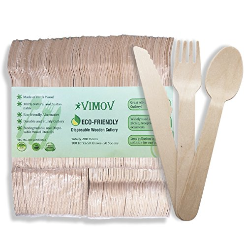 Wooden Disposable Cutlery Set (200pcs)- Compostable Flatware Utensil for Party Serving, Wedding, Family Events, BBQ - 100 Forks, 50 Knives and 50 Spoons by VIMOV