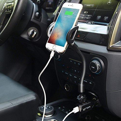 3-in-1 Car Phone Mount, Cell Phone Holder Cradle with Dual USB 2.1A Charger Compatible with iPhone X 8 7 6 6S Se 5S Samsung Galaxy S9 S8 S7 S6 S5, HTC LG Sony Nexus Motorola and More