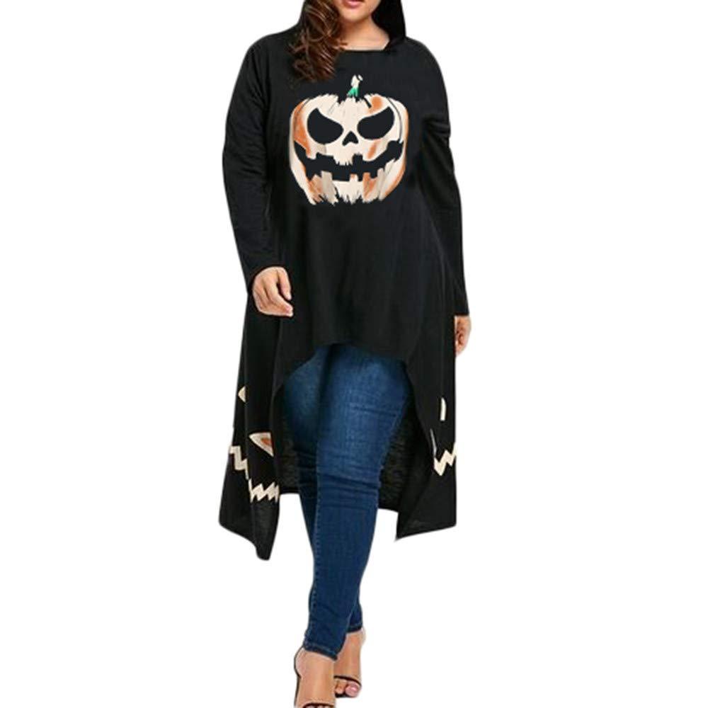 Robe à Capuche Halloween Femme Fille Imprimé Citrouille Manches Longues Ourlet Haut et Bas Robe de fête/Cocktail/Soirée Chemise Top Blouse Shirts Grande Taille