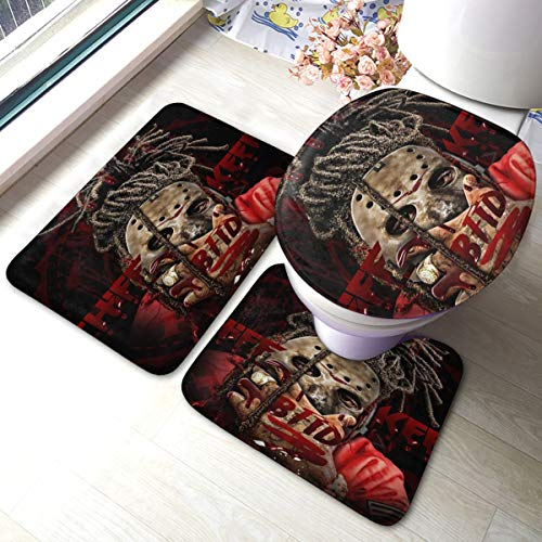Japan Anime Chief Keef Back from The Dead Bathroom Three-Piece Set, Bathroom Carpet Set, Non Slip Bath Mat, U-Shaped Contour Rug and Toilet Lid Cover